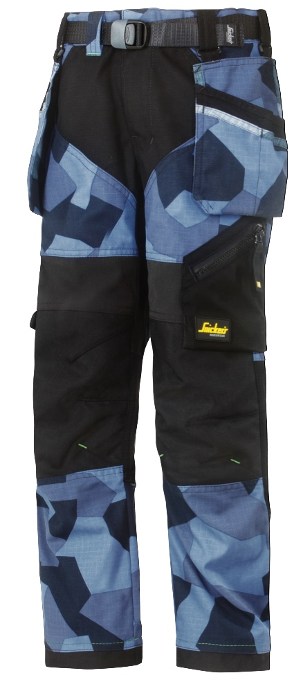 79cda324 7505 FlexiWork arbeidsbukse for barn, blå camo. Snickers Workwear