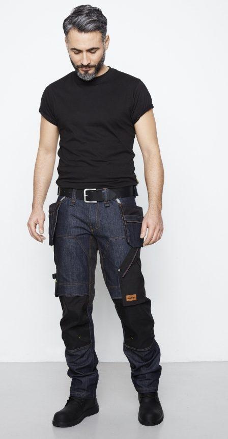 Rå arbeidsbukse i denim frå Snickers Workwear